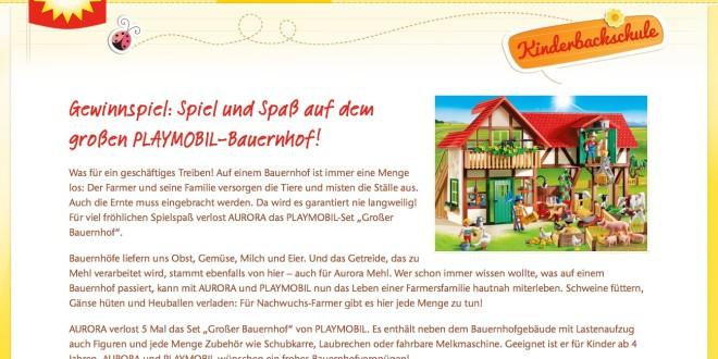 aurora mehl gewinnspiel tolle playmobil bauerhof sets zu. Black Bedroom Furniture Sets. Home Design Ideas