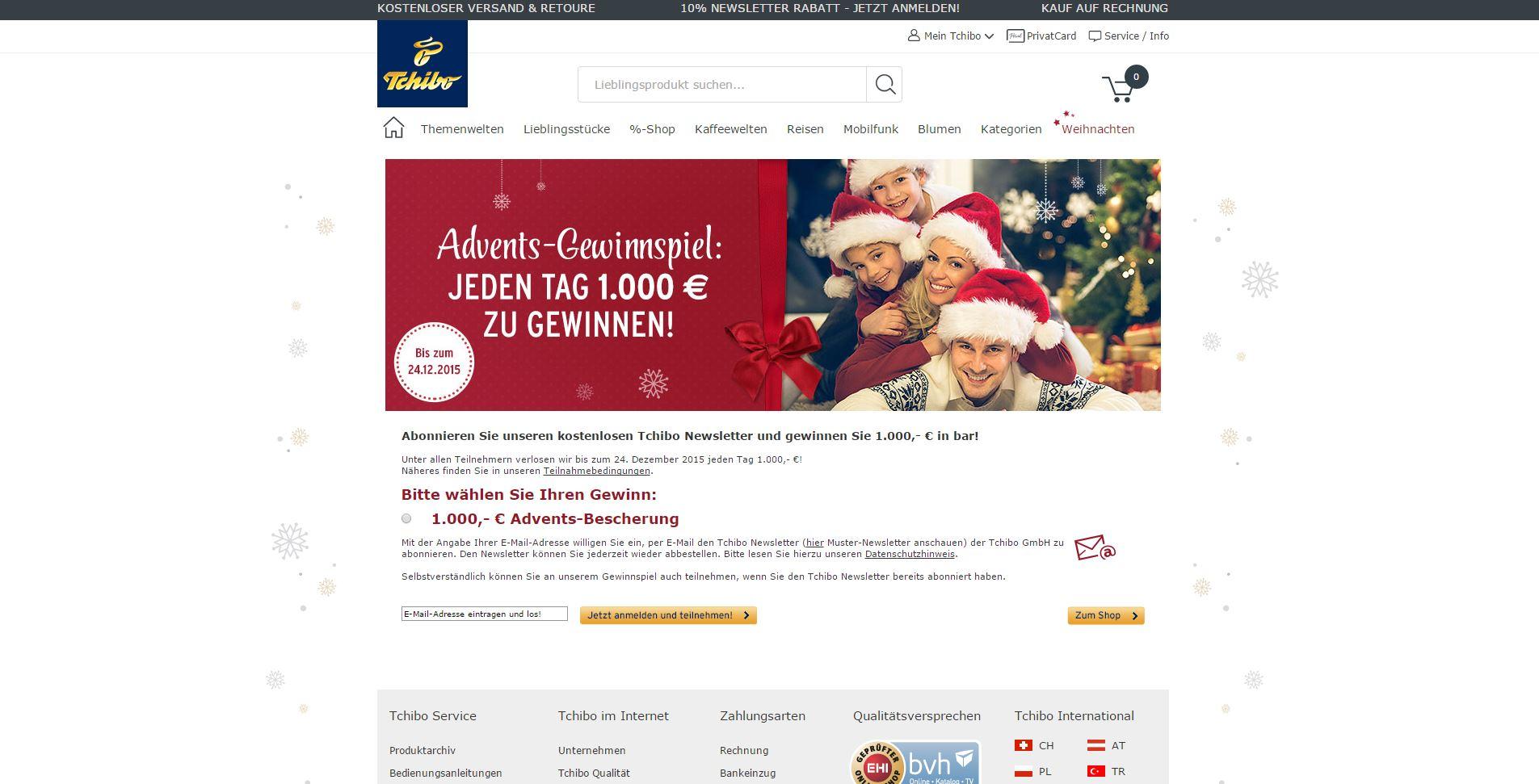 tchibo adventskalender online adventskalender bargeld gewinnspiel tchibo newsletter. Black Bedroom Furniture Sets. Home Design Ideas