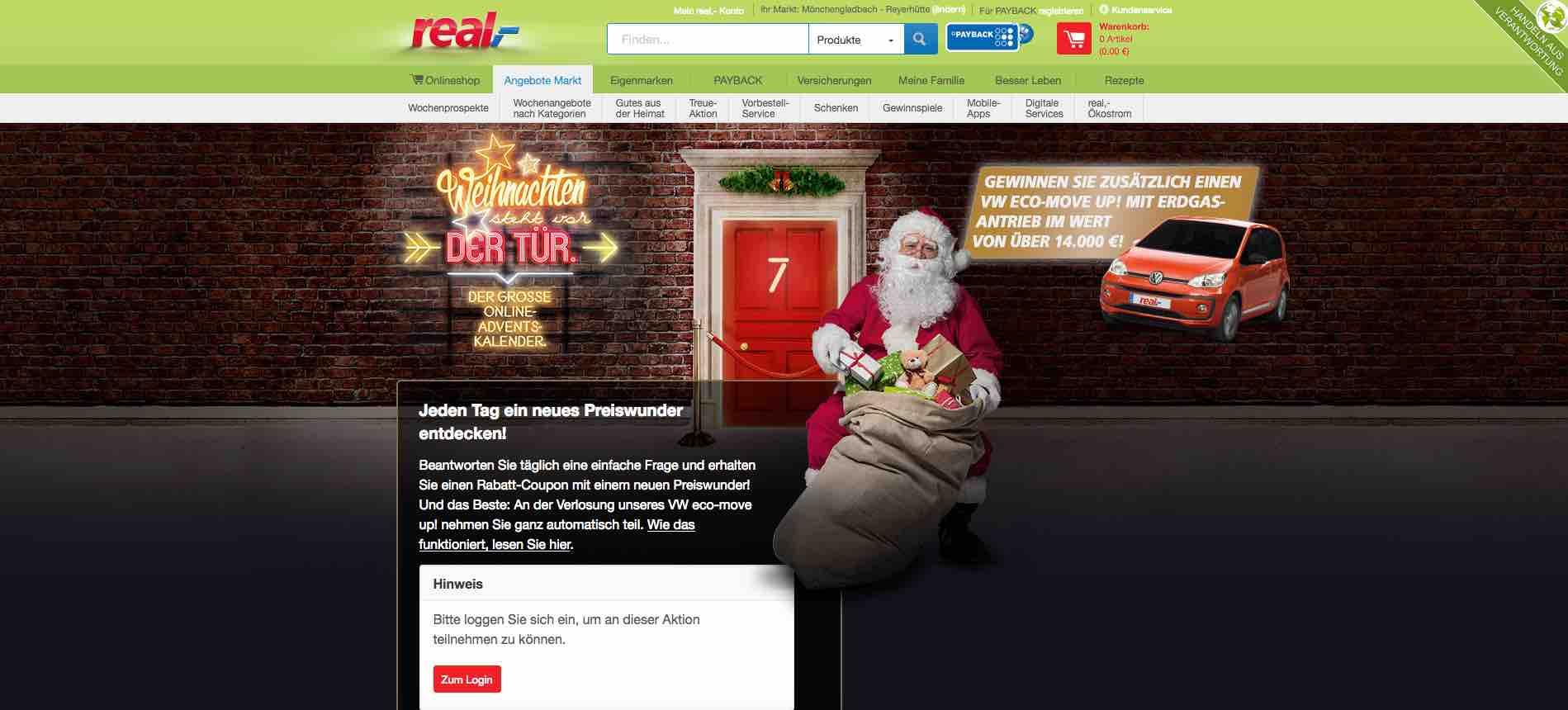 Weihnachtskalender Real.Real Online Adventskalender Auto Gewinnspiel Vw Up Gewinnen