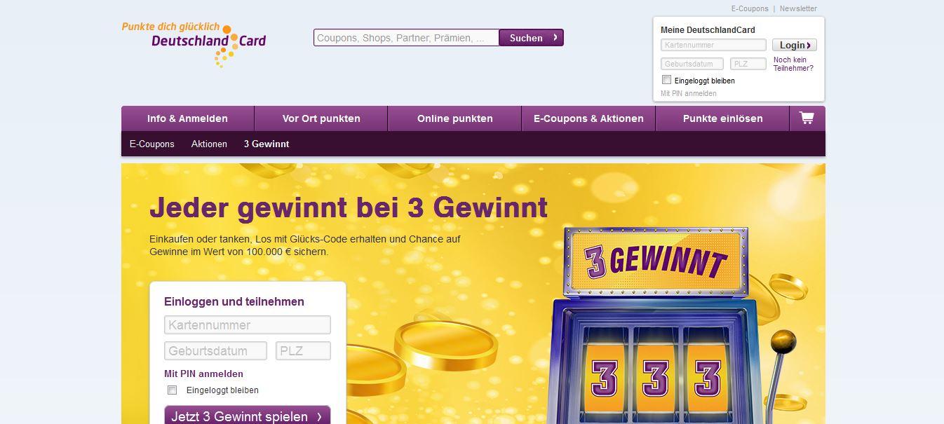 www.deutschlandcard.de gewinnspiel 3 gewinnt