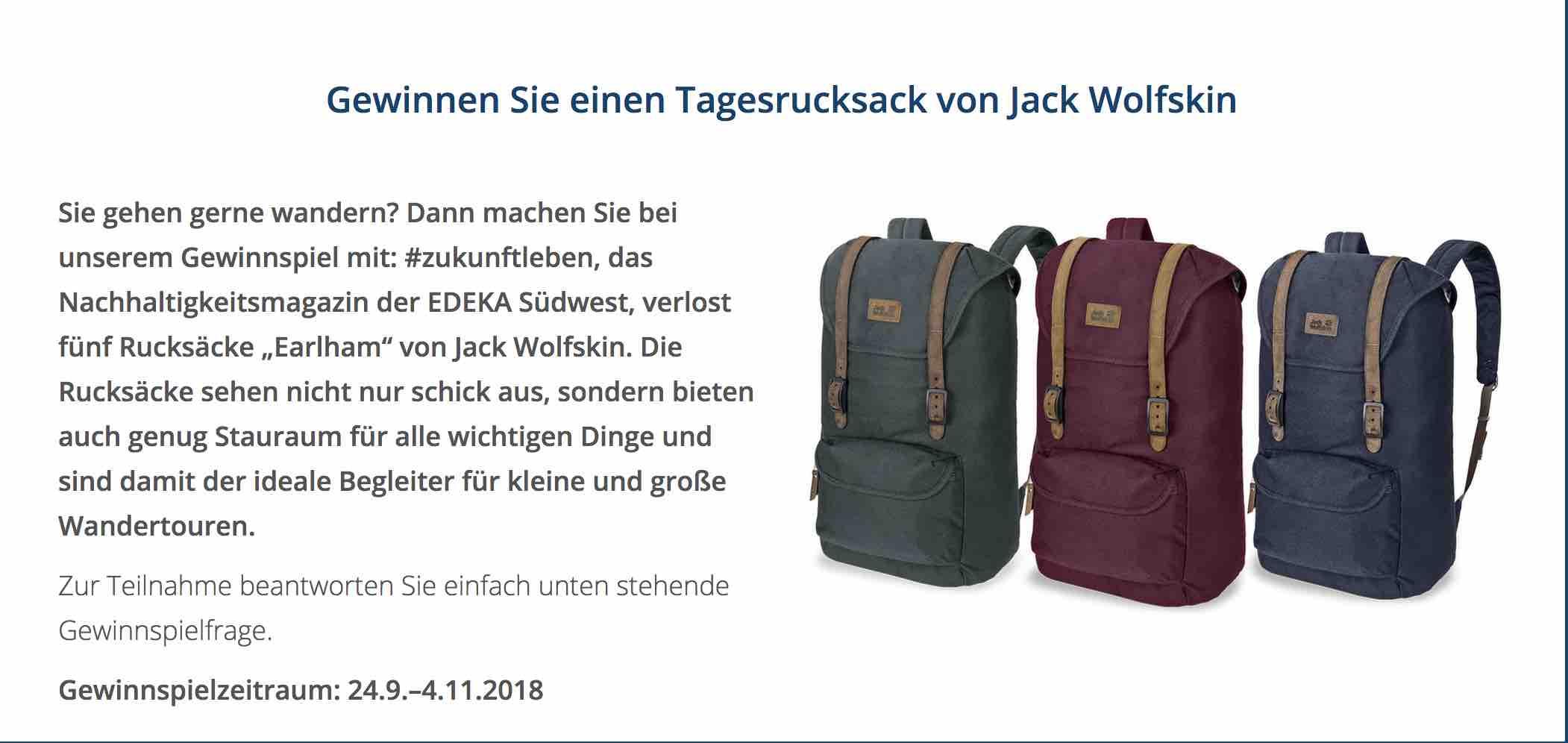 Einkaufen feine handwerkskunst Großhandelspreis Edeka Gewinnspiel - Trekking Rucksack gewinnen!